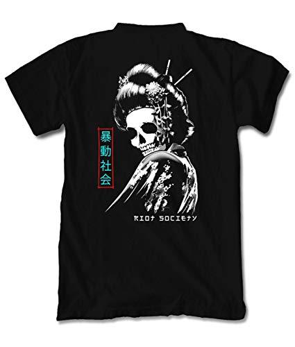 Riot Society Geisha Skull Mens T-Shirt - Black, Medium