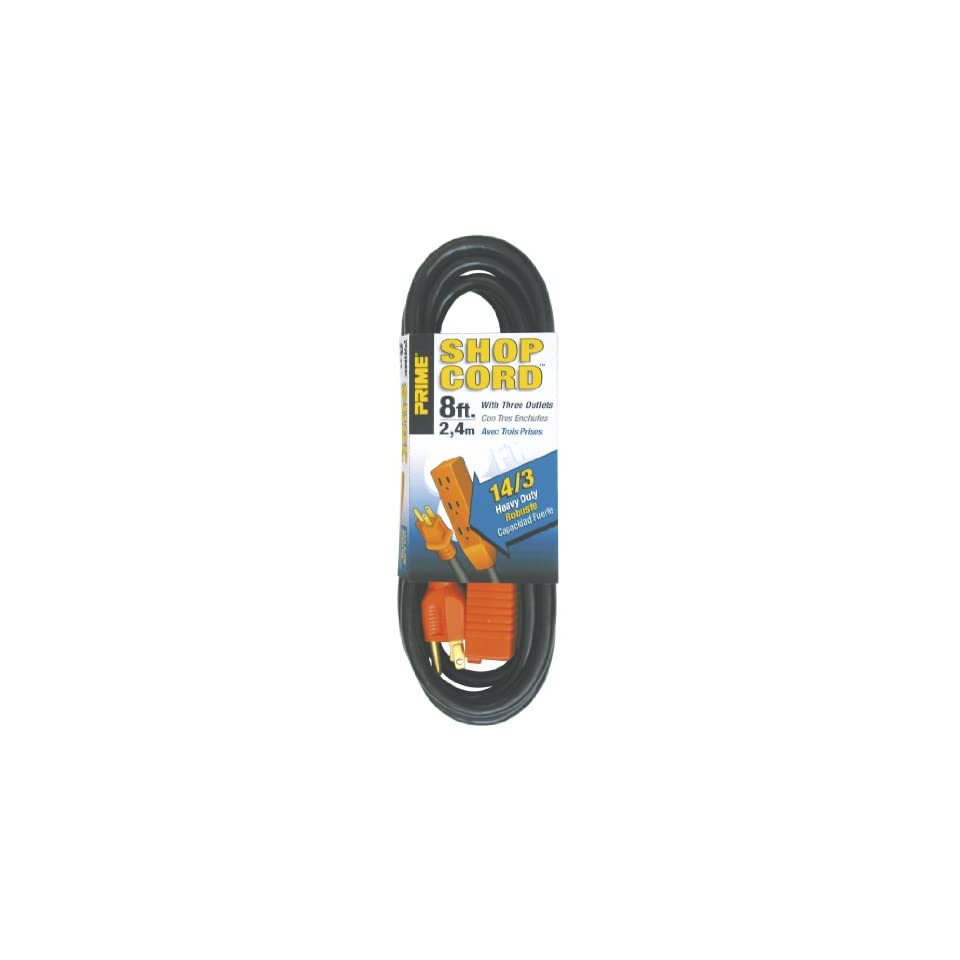 Prime Wire & Cable EC890708 8 Foot 14/3 SJT 3 Outlet Indoor Shop Cord, Black and Orange