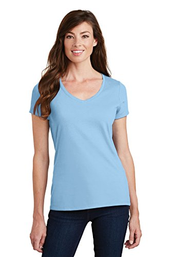 Joes Usa Tm  Ladies V Neck Short Sleeve Lightweight Cotton T Shirt Liteblue M