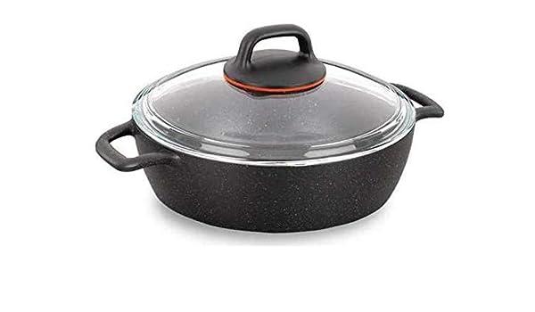 Korkmaz Gusto Olla Plano Utensilios Cocina Negro Ptfe-Beschichtung Aluguss Antiadherente 24cm 2,5 Lt. A1364: Amazon.es: Hogar