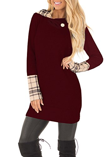 - Yingkis Women's Long Sleeve Plaid Hoodies Tunic Tops Button Cowl Neck Casual Slim Blouse,Wine Red S