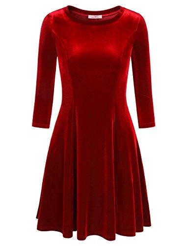 Slivexy Women's 3/4 Sleeve Swing Flared A Line Casual Velvet Knee Length Dress Red #2 (Flared Sleeves Mini Dress)