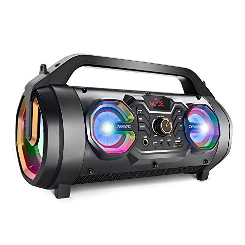 Bluetooth Speakers, 30W Portable Bluetooth Boombox with Subwoofer, FM Radio, Colorful Lights, EQ, Stereo Sound, Booming Bass, 10H Playtime Wireless Outdoor Speaker for Home, Party, Camping, Travel