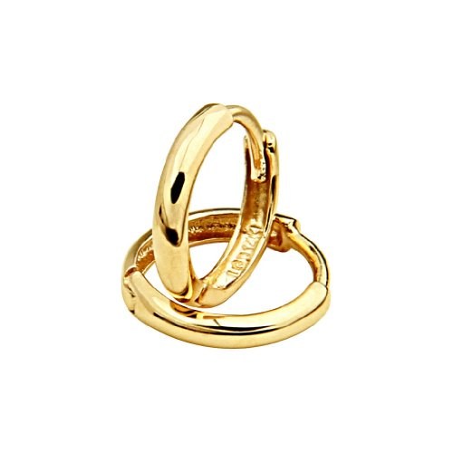 Price comparison product image 14k Yellow Gold 2mm Thickness Hoop Huggie Earrings (11 x 11 mm)
