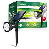 Signature Garden LED Solar Garden Spotlights (4 Pack) Super-Bright, Easy No-Wire Installation with Ground or Wall Mount Option. Auto On/Off. All-Weather/Water-Resista