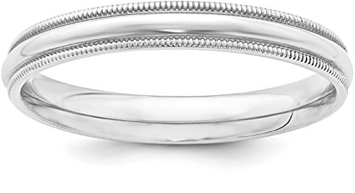 Sterling Silver 3mm Plain Half Round Classic Comfort-fit Wedding Band with Milgrain Edge - Size 7 - Edge Milgrain Wedding Ring