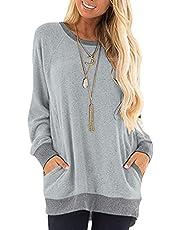 TARAINYA Womens Tunic Tops Long Sleeve Round Neck Casual T Shirts Sweatshirts Blouses with Pocket (Local Warehouse Shipped)