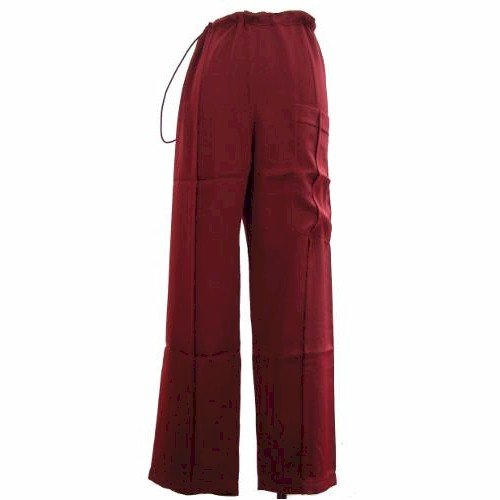 Maroon Silk Kung Fu Pants, Size L by Jade
