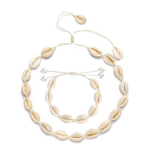 YINL Shell Choker Necklace for Women - Seashell Necklace Statement Adjustable Sea Shell Cord Bib Collar Necklace Bracelets Set Hawaiian Beach Jewelry for Summer