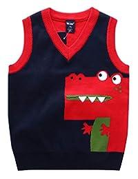 e16c25674b Happy Cherry Kids Pullover Round Neck Faux Stripe Tie Knit Fashion Sweater  Vest