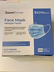 Ships from Canada - 100 Pack Disposable Face Masks Masques Safety, 3-Ply Ear Loop