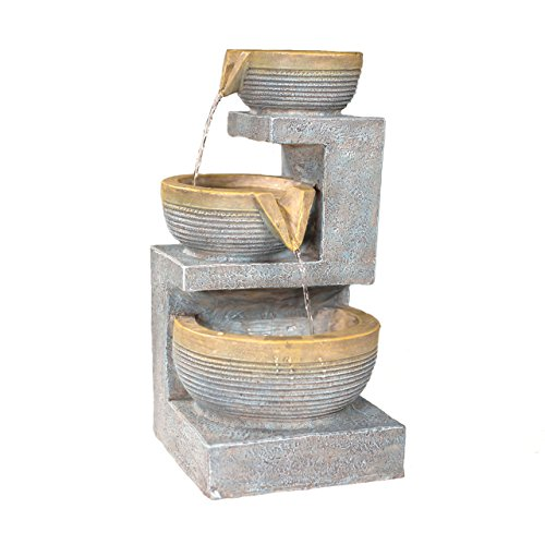 Sunnydaze Three Tier Cascading Basins Tabletop Water Fountain with LED Light, 15 Inch Tall