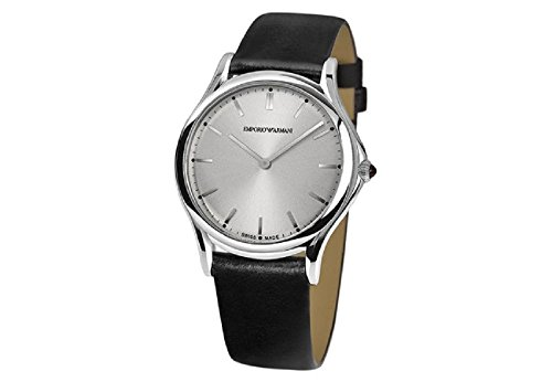Emporio Armani Swiss Made Men's Quartz Stainless Steel and Leather Dress Watch, Color:Black (Model: ARS2002)