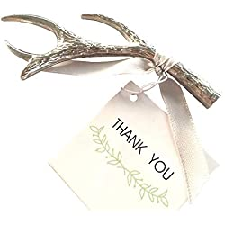 Pack of 10 Antler Bottle Openers, Silver, Wedding Party Favors and Gifts