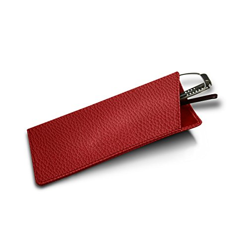 Lucrin Genuine Leather Thin Eyeglass Case and Holder - Re...