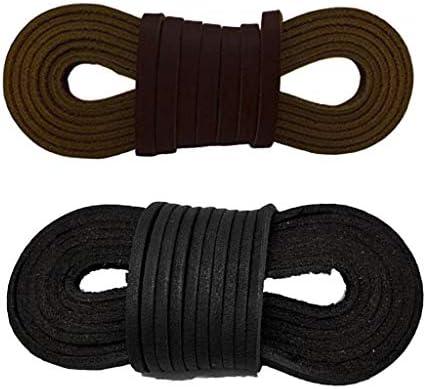 牛革製靴ひも シューレース 黒 靴紐 ブーツひも 耐久性 多機能 丈夫 コーヒー+ブラック ユニセックス
