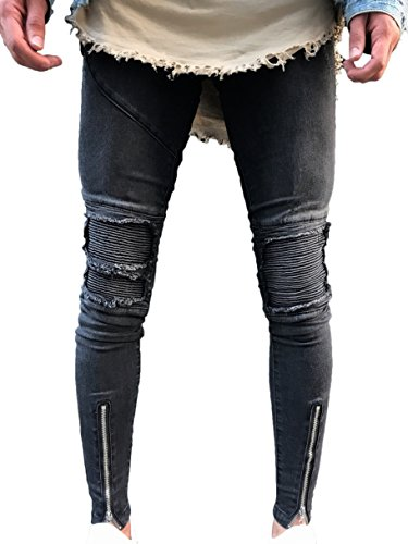 Men s Skinny Slim Fit Straight Ripped Destroyed Distressed Zipper Stretch  Knee Patch Denim Pants Jeans 9e4471524