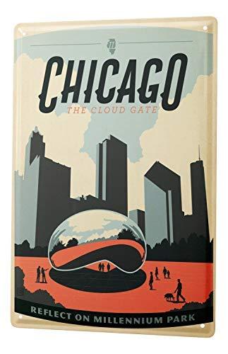 - Faaca Metal Sign Deco City Chicago Millenium Park 8X12