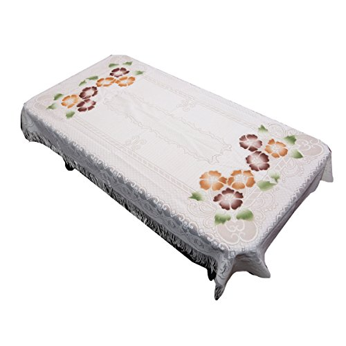 Kuber Industries Floral Cotton 4 Seater Centre Table Cover   Cream