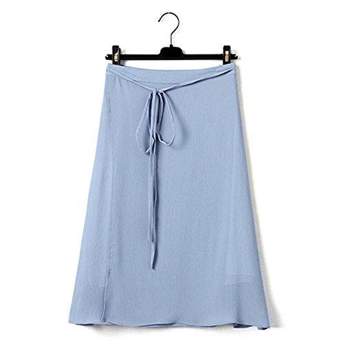 GZZ Jupe en Mousseline de Soie Blanche, Dames t Longue Jupe Taille Haute, Une Jupe de Mot, Split Rtro, Style littraire, Jupe Demi-Longueur Bleu