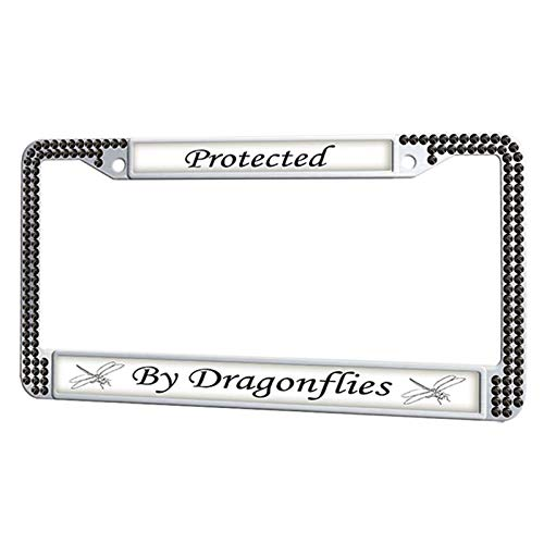 GumiHolders Protected by Dragonflies License Plate Frame Fluorescence Plate Frame Cover Black Rhinestone, Stainless Steel Car Tag Frame Glitter Bling for US Vehicles]()
