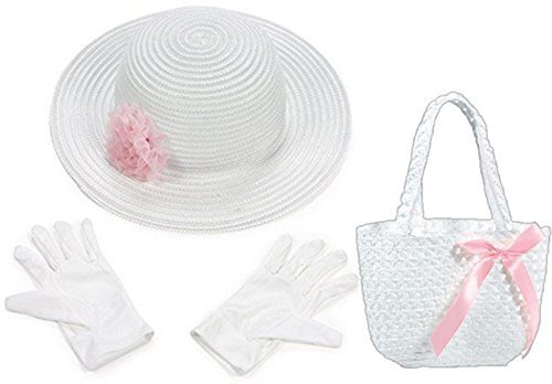 Variety Pink and White Tea Party - Easter Accessories Hat White Gloves Matching Purse