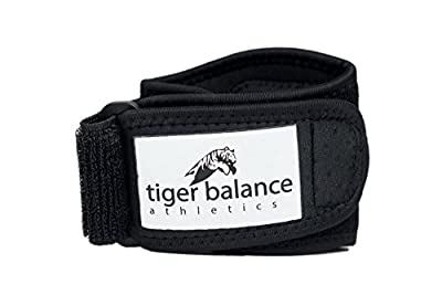 Tennis & Golfer's Elbow Brace with Extra Large Compression Pad by Tiger Balance Athletics - Best Tennis Elbow Strap Band Provides Support and Helps Ease Tendonitis and Forearm Pain