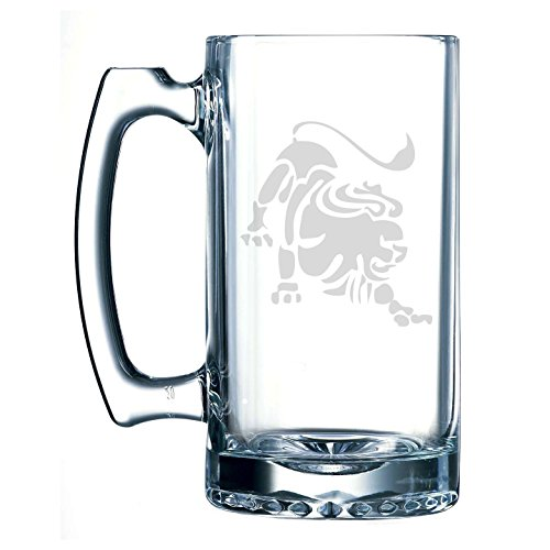 Beer History Stein (Leo Zodiac Symbol Silhouette 5th Sign Lion - 25 oz Glass Beer Stein)