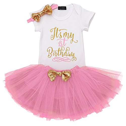 Minnie Mouse Smash Cake (IBTOM CASTLE Baby Girl It's My 1st/2nd Birthday Cake Smash 3Pcs Shinny Sequin Bow Romper+Tutu Skirt+Headband+Leg Warmer Outfit Pink(1 Years)(3pcs) One)