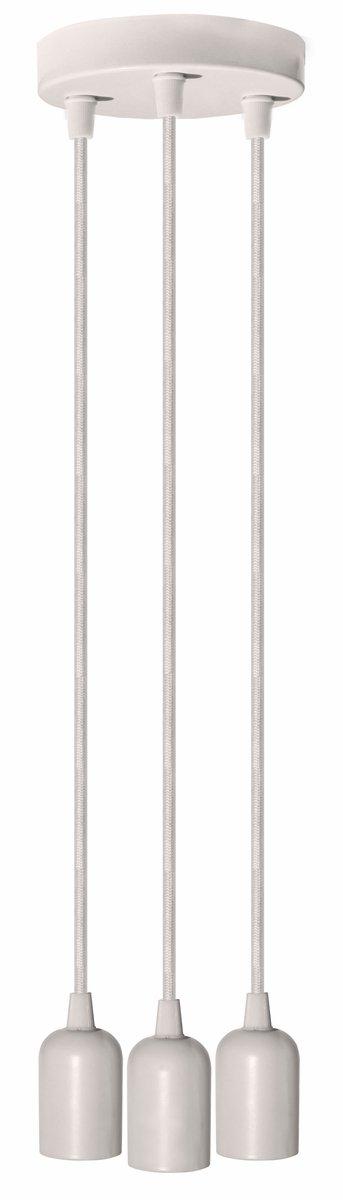 Fantado Triple Socket Metal White Hardwire Cord Kit Ceiling Pendant Light Fixture w/Braided Cloth Cord, 10 FT by PaperLanternStore
