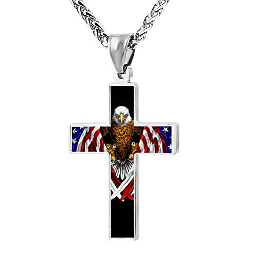 Phoenix Powell88 American Flag Eagle Cross Pendant Necklace Customize Christian Religious Jewelry for Men/Women