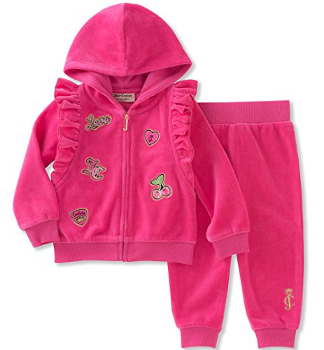 Juicy Couture Girls' 2 Piece Velour Pants Set,