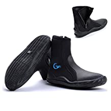 Water Shoes/Water Booties/Diving Boot Wetsuit Shoes Men/Women with Fin Strap Holder, Premium Neoprene 5mm Hi Top Zipper Boot with Anti-slip Rubber Soles for Scuba Diving, Snorkeling,Surfing,Boating