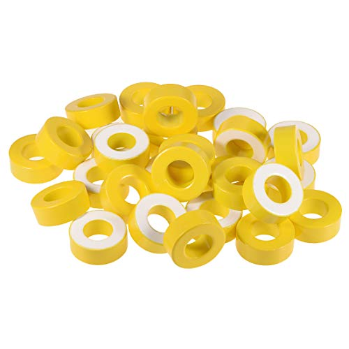 uxcell 50pcs 23.8X 47.2 x 18.3mm Ferrite Ring Iron Powder Toroid Cores Yellow White by uxcell