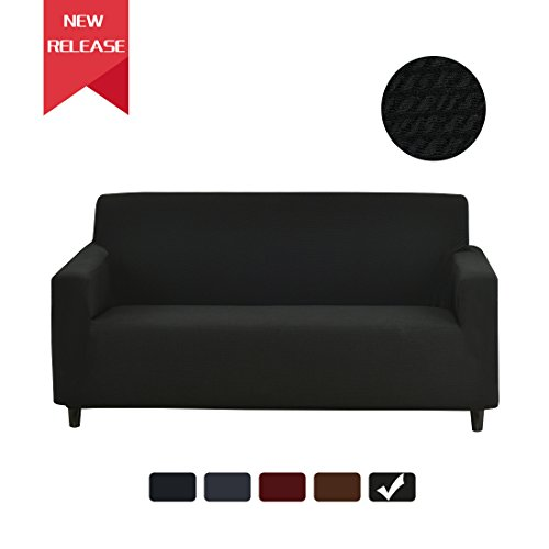 Stretch Sofa Slipcover Couch Cover 1-Piece Jacquard Polyester Spandex Fabric Elastic Furniture Protector (Knitted Stripe, Black) (Cover Stripe Polyester)