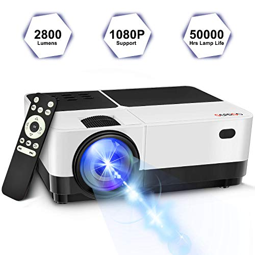 GEARGO Video Projector 2019 Upgraded 2800 Lumens 1080P Supported HD LCD LED Compatible with Phone PS4 Xbox HDMI USB SD Home Theater Outdoor Movie Night