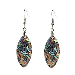 YingNeng 1 Pair Exotic Vintage Drop Shape Oval Shell Earrings