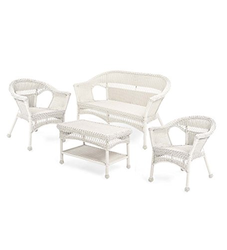 Plow & Hearth Easy Care Resin Wicker Outdoor Love Seat, Chairs Coffee Table Furniture Set, Bright White