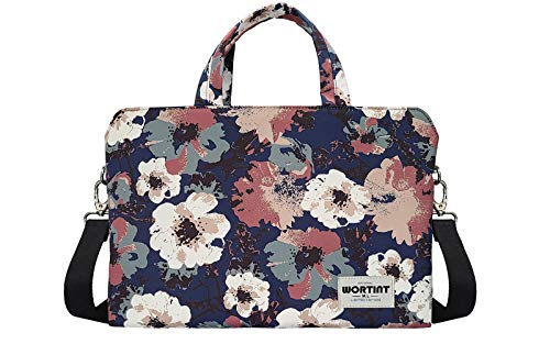 WORTINT Waterproof Laptop Shoulder Messenger Bag Case Sleeve for 14 Inch 15 Inch Laptop Case Laptop Briefcase 15.6 Inch. (Camellia, 13 Inch)