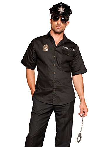 Mens Sexy Cop Costume 4 Piece Set with Black Shirt Badge Hat and Handcuffs Sizes: -