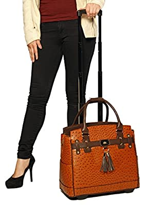 """""""The Uptown"""" Ostrich Alligator Computer iPad, Laptop Tablet Rolling Tote Bag Briefcase Carryall Bag"""