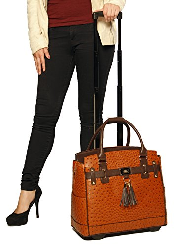 """The Uptown"" Ostrich Alligator Computer iPad, Laptop Tablet Rolling Tote Bag Briefcase Carryall Bag"