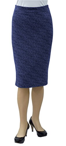 Knit Hand Boucle - Baby'O Women's Slim Fit Figure Hugging High Waist Stretch Knit Pencil Skirt, royal boucle, xl