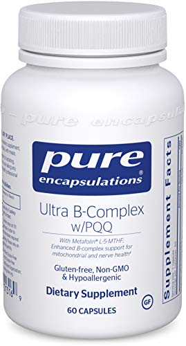 Pure Encapsulations – Ultra B-Complex w/PQQ – Hypoallergenic Supplement with Enhanced Vitamin B-Complex for Mitochondrial and Nerve Health – 60 Capsules