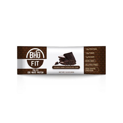 Bhu Fit -Paleo Protein Bars, Gluten Free, Non-gmo - 1.6 Oz, Case of 12 (Double Dark Chocolate Chip) by Bhu Fit