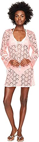 Letarte Women's Lace Tunic Cover-Up Pink Coral Swimsuit Top (Status Of A Returned Item)
