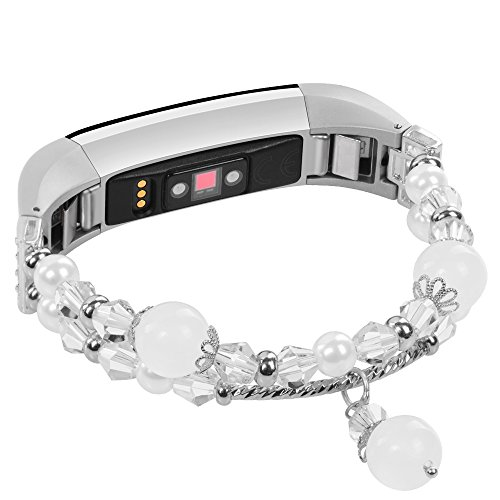 iGK Replacemnt Wristband Compatible for Fitbit Alta and Fitbit Alta HR,Metal Bracelet Jewelry Replacement Wristband with Metal Compatible for Fitbit Alta HR and Alta Pearl White Small