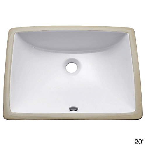 Undermount 20 in. Rectangular Vitreous China Sink in White