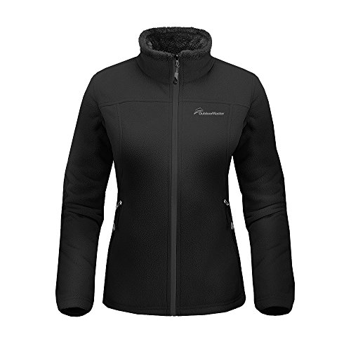 OutdoorMaster Women's Fleece Jacket - Waterproof & Stain Repellent, Ultra Soft Plush Lining & Optional Hoodie - Full-Zip (Black,M)