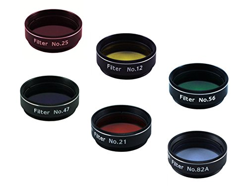 Astromania 1.25-Inch Color filter set (6 pieces) - value filter pack - simply screwed into the thread on the eyepiece